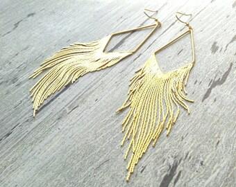 Gold Fringe Earrings - long flowing lines of flexible snake chain strand dangles in v shape - elegant tassel sexy evening wear chandelier