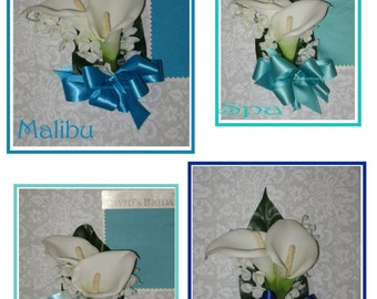 White Calla Lily Mother's Corsages, Pool Corsage, Spa Corsage, Malibu Corsage, Royal Corsage