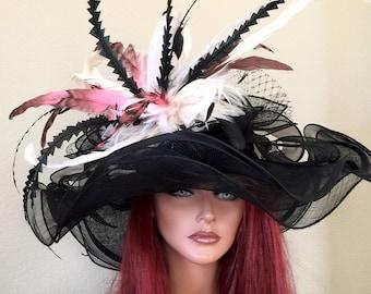 Black White Pink Medium Brim Hat Kentucky Derby -Wedding- Races Custom