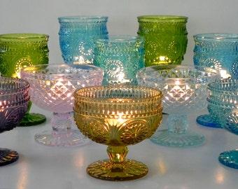Votive Candle Holder Set Of Ten Glass Dessert Glasses Wedding Votives Tea lights Candle Holder Party Decor Vintage Inspired Wedding Home