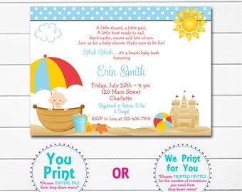 Beach Baby Shower Invitation Beach Baby Beach Baby Shower Invitation   Girl  Or Boy