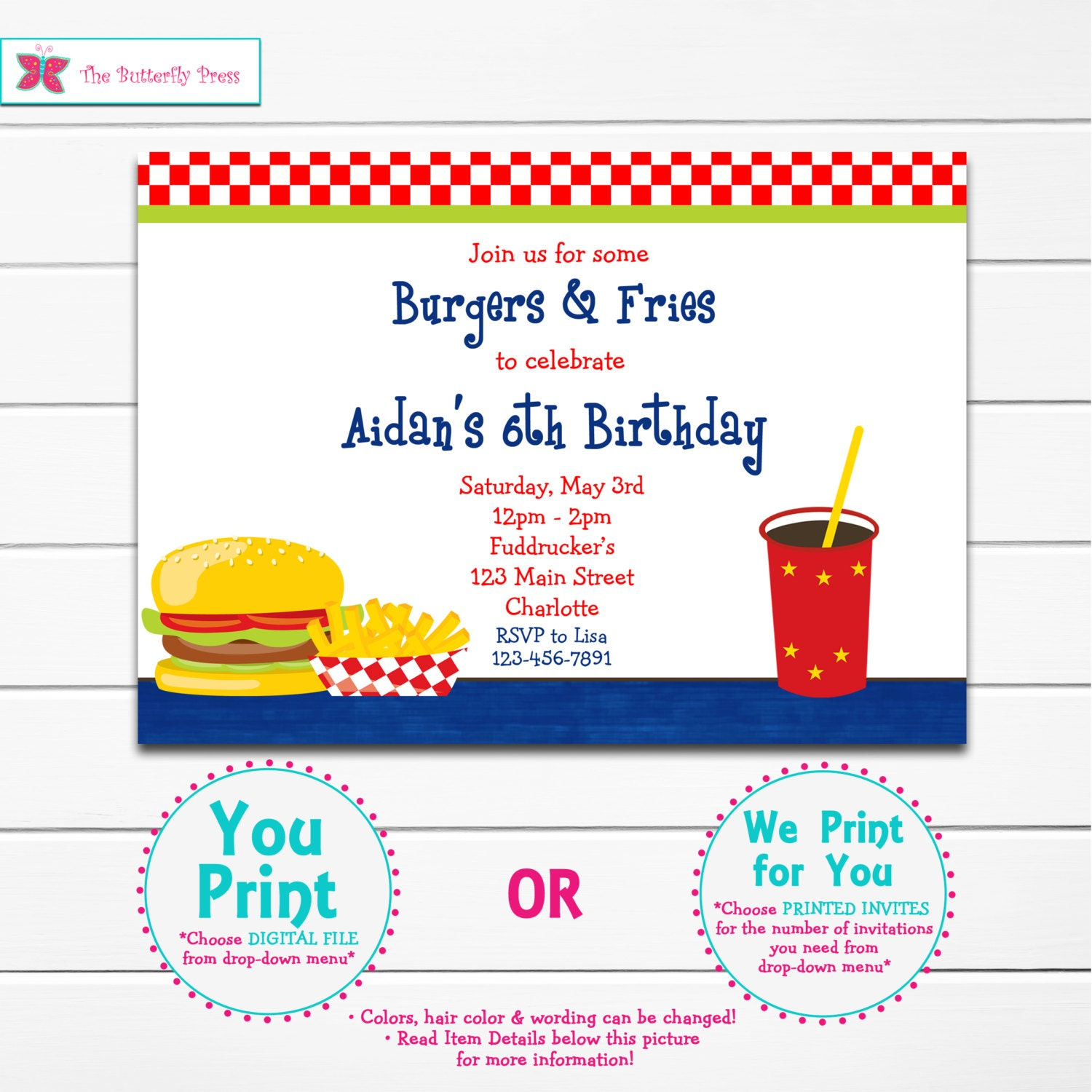 Burgers And Fries Birthday Party Invitation Hamburger Birthday