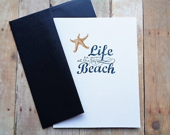 Rustic Beach Note Cards with Starfish Stickers Envelope Seals