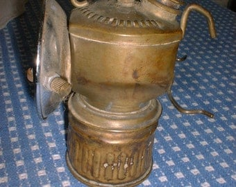 Antique Brass CARBIDE MINERS LANTERN by Autolite Lamp Co.