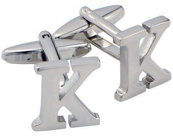 Initials Cufflinks Letter K Silver Cuff-links (Mix and Match any Initials & Number) 1200338