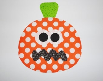 LARGE Iron On Applique Orange Speckle PUMPKIN Halloween Fall Or Harvest...See Size Below