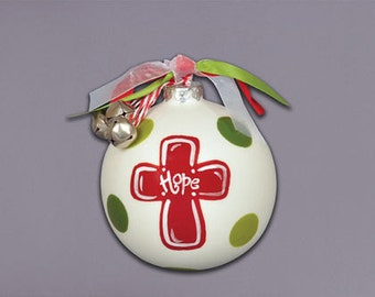 Hope Cross Ceramic Ball ornament with ribbons & bells attachments