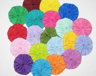 """20 Fabric YoYos, Solid Colors, 2"""" Size, Embellishments, Appliques,Quilting"""