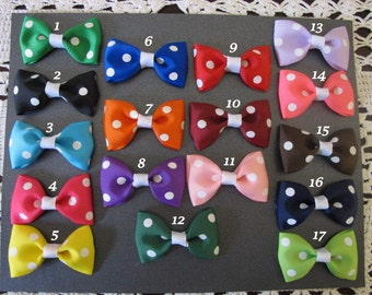 4 inch Tuxedo Bows---Polka dot and Chevron-you choose colors-toddler bows--girls bows--baby bows--bowtie bows