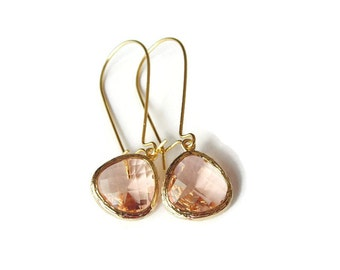 Gift Peach earrings Bridesmaid earring Champagne earrings Peach bridesmaid earrings Drop earring Bridal earring Wedding jewelry Gift for Her