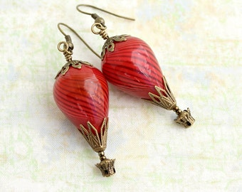 Red Hot Air Balloon Earrings - Mars Rising Red Steampunk earrings in blown glass - Red Steampunk Jewelry