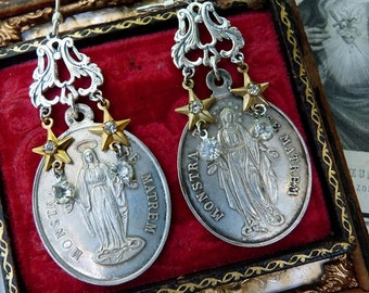 Antique French Nun Medal Earrings, Talismans for the Passionate, by RusticGypsyCreations