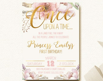 Fairytale Birthday Invitation Woodland Boho Chic First Birthday