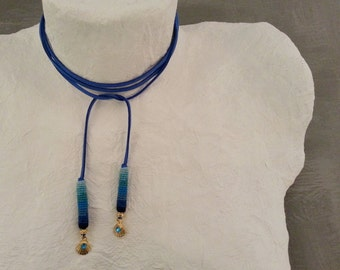 Seashell Blue Bolo Choker Wrap Tie Necklace Minimal Necklace Vegan Suede Choker