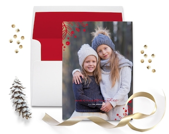 Photo Christmas Card / Holiday Photo Greeting - Red Christmas Photo Card -  5x7 - Printable Christmas Card - Glitter Sparkle Christmas