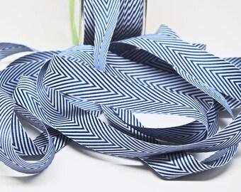Striped Chevron Twill Ribbon -- 3/4 inch -- Navy White