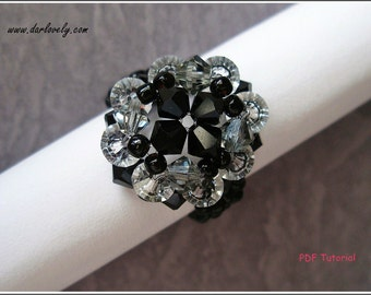 Beaded Ring PDF Pattern - Elegant Black Ring (RG070) - Beading Jewelry PDF Tutorial (Digital Download