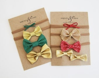 SALE Holiday Hair accessory SET of Hairclip  red green gold hairband