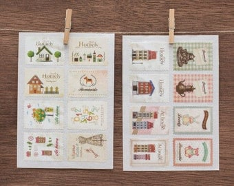 16 paper stickers vintage style