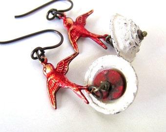 BLOODBATH strange and unusual bird jewelry, bloody red bird earrings, weird bird bath unique earrings strange and unusual earrings