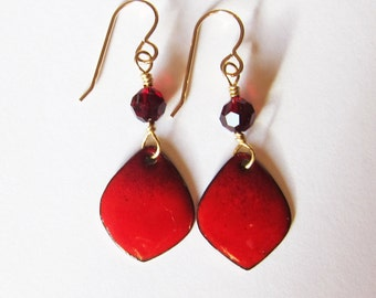 Dainty red enamel earrings Small wine burgundy drops Gold french wires Petite vintage inspired dangles Enameled copper artisan jewelry