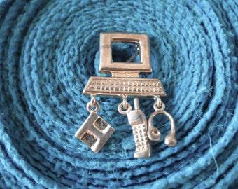 Computer Dangle Brooch Pin Sterling