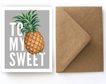 Valentine's Day Card - Pineapple Botanical Stationery - To My Sweet - Vintage Pineapple Single Card with Kraft A2 Envelope. Stationery - S05