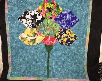 Hawaiian Hexagon Flower Quilt Block Pattern   -  by Janelle Lombard