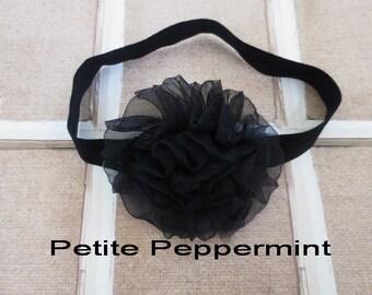 Black baby headband, Black baby bow headband, newborn headband, infant headband, toddler bow headband, girl headband, baby hair bow