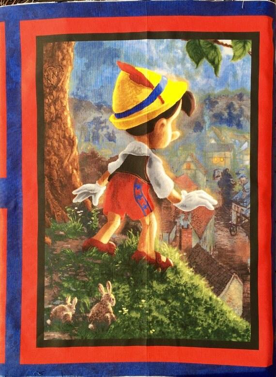 "SALE : Pinocchio Disney fabric Thomas Kinkade 24"" panel or more"