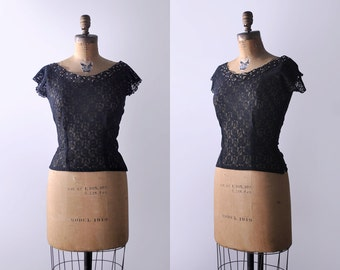 40's black lace top. s. 1940's floral top. rhinestones. sheer top. pinup 40.