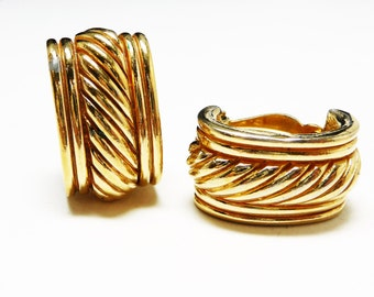 Ciner Goldtone Hoop Earrings,  Designer Signed Vintage Clip on Style - Modernist Retro Fashion 1980's Vintage Jewelry