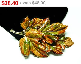 Weiss Enamel Leaf Brooch - Large Leaves Pin - Autumn Fall Colors - Goldtone, Brown and Green Large Jewelry