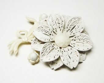 White Celluloid Flower Brooch - Large Lacey Plastic Flowers Corsage - 1930's 1940's Era Patent Pending