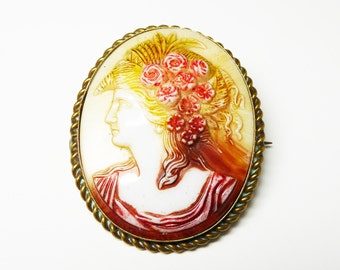 Colorful Cameo Brooch - Renaissance Fair Maiden - Roses in Long Hair - Vintage Cameo Pin - Molded Glass
