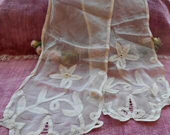 Antique Lace Trim Vintage Lace Trim Brussels Appliqued Silk Lace Scarf