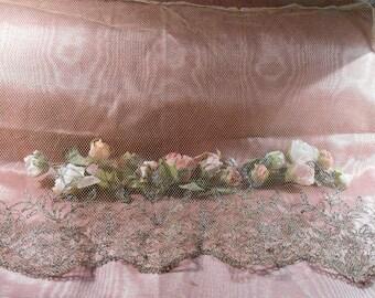 Antique Lace Vintage Lace Trim French Tulle Lace Metallic Trim Edwardian Dress