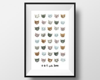 Cat Spells Love Print