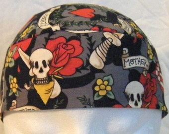 Tattoo Love Skull Cap, Chemo Cap, Surgical Cap, Hat, Motorcycle, Helmet Liner, Hair Loss, Handmade, Roses, USA Flag, Alopecia, Flowers