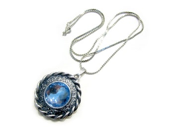 "Vintage Blue Glass Medallion Pendant Silver 24"" Necklace Round Bright Blue Vintage Jewelry Gift for Her Gift for Mom Under 20"