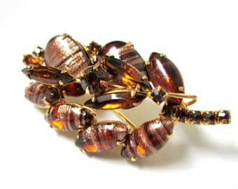 "Copper Fluss Brooch Brown Rhinestone Large Vintage 2"" Pin"