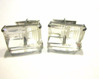 Cuff Links Asian Temple Etched Clear Frosted Glass Vintage Mens Jewelry