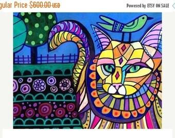 25% Off - Cat Art, ORIGINAL PAINTING Maine Coon Cat Art
