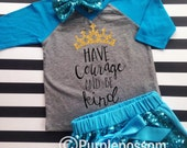 Have Courage and be Kind Glitter Shirt Girls Glitter Raglan Handmade Original Design Have Courage and Be Kind Shirt