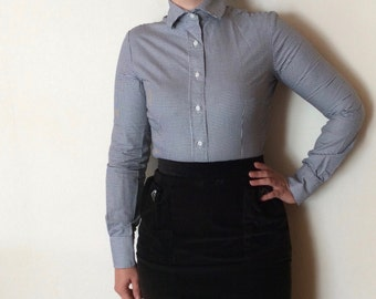 Mod Scootergirl houndstooth fred perry like blouse shirt.
