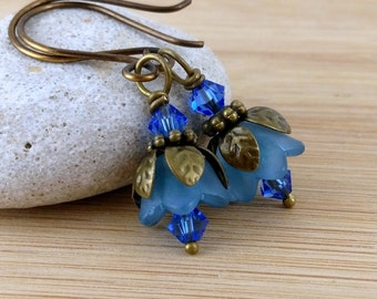 Blue Lucite Flower Earrings. Lucite Flower Jewelry. Light Denim Blue Bells with Antique Brass and Swarovski Crystals
