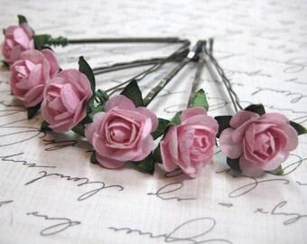 Pink Rose hair pins