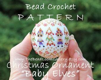 Christmas Ornament Baby Elves - Crochet PDF File TUTORIAL - Christmas Ornament Vol.15 with Swarovski Crystals