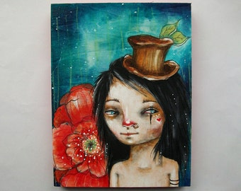 folk art Original boy painting poppy mixed media art painting on wood canvas 8x6 inches - Poppies and Stardust