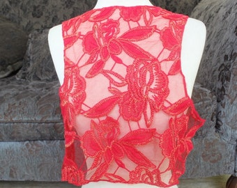 Red  color embroidered flower applique
